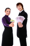 Boy with the money and girl with the credit card Royalty Free Stock Images