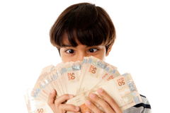 Boy and Money Royalty Free Stock Photos