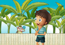 A boy and a monkey near the banana plantation Royalty Free Stock Image