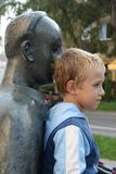 Boy and the monument Royalty Free Stock Photo