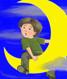Boy on moon Royalty Free Stock Images
