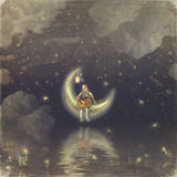 The Boy With A Moon stock illustration