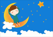 The boy on the moon. The fantastic boy sits on the moon Royalty Free Stock Photo