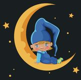 Boy on the moon Stock Image