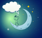 A boy at the moon with an empty thought Stock Photography