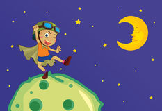 Boy on the moon Stock Images