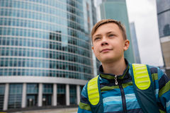 Boy in Moscow City - Moscow International Business Center Stock Images