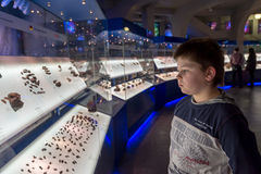 Boy in Moscow Planetarium Urania Museum, Russia Stock Photos