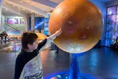 Boy in Moscow Planetarium Urania Museum, Russia Stock Photo