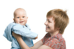 Boy and mother Stock Photo