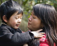 Boy and mother. Mother love, a happy childhood Stock Photos
