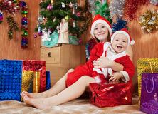 Boy with mother  celebrating Christmas Stock Photos