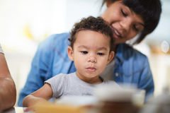Boy with mother. Cute infant on background of his mother Royalty Free Stock Photos