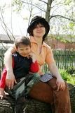 Boy with mother embracing in nature. tender sentiment.  Stock Photo