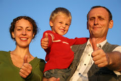 Boy, mother and grandfather Stock Photos
