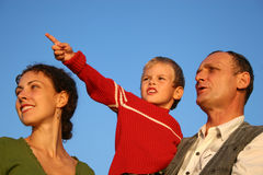 Boy, mother and grandfather Royalty Free Stock Photography