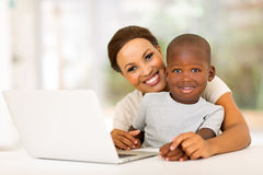 Boy mother laptop Royalty Free Stock Image
