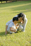 Boy and mother playing on lawn. Picture of a little chinese boy and his mother searching for insects in grass in a sunny autumn day Stock Image