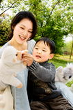 Boy and mother playing together. A picture of a little chinese boy and his mother playing plush toys together and having great fun Stock Photography