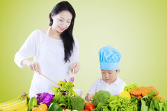Boy and mother preparing salad. Little boy and his mother making vegetables salad while cutting and stirring the vegetables Stock Photos