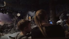 Boy with mother traveling through winter forest in amusement park stock video footage