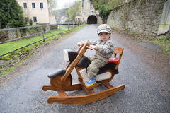 Boy and motorbike Stock Photo