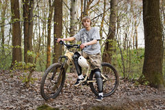 Boy and mountain bike Royalty Free Stock Images