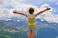 Boy in mountains Stock Photo