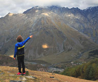 Boy in mountains Royalty Free Stock Photos