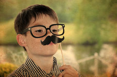 Boy with moustache Stock Photography
