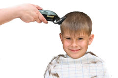 Boy mows clipper Stock Images