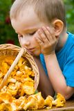 Boy with mushrooms Stock Photo