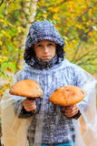 Boy with mushrooms stock images