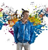 Boy and music note splashing. Concept of music with note splashing Royalty Free Stock Photography