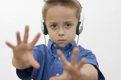 Boy / music / white Stock Images