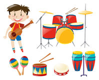 Boy and musical instrument set Royalty Free Stock Photo