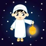 Boy Muslim. Happy Ramadan. Little Boy Muslim Hold lamp on blue background at night. Vector illustration Stock Photography