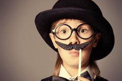 Boy with mustache Royalty Free Stock Image