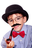 Boy and mustache. Hat, boy and mustache isolated on white stock images