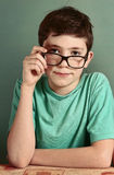 Boy in myopia glasses close up photo royalty free stock photo