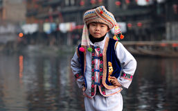 A boy with national cloth Royalty Free Stock Images