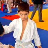 Boy in a National Contest of Judo. Royalty Free Stock Image