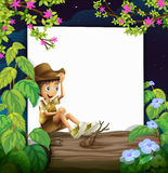 Boy and nature. Illustration of a boy sitting on a log with nature and white as background Stock Photos