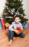 Boy Near A New-year Tree Stock Images