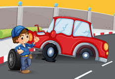 A boy near the car accident at the road Royalty Free Stock Photo