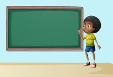 A boy near the empty blackboard Royalty Free Stock Images