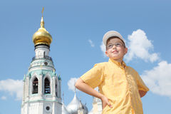 Boy near Holy Resurrection cathedral Royalty Free Stock Photos