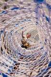 Boy in net sleeve of amusement park climbing facility Royalty Free Stock Images