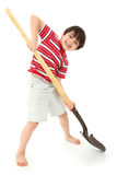 Boy with New Shovel Spade stock images
