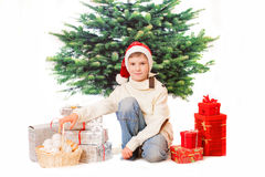 The boy with new year presents Stock Photo